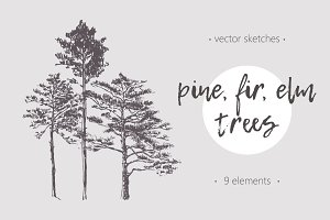 Set of trees illustrations