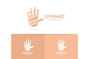 Vector of hand logo combination. Arm symbol or icon. Unique support logotype design template.