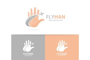 Vector of hand and plane logo combination. Arm and travel symbol or icon. Unique support and flight logotype design template.