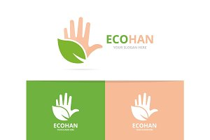Vector of hand and leaf logo combination. Arm and eco symbol or icon. Unique support and organic logotype design template.