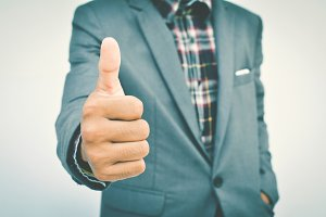 hand businessman thumbs up