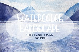 Watercolor Hand Drawn Lake Landscape