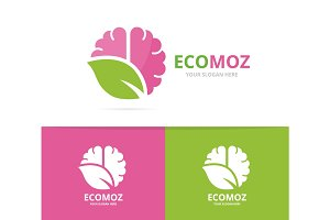 Vector brain and leaf logo combination. Education and eco symbol or icon. Unique science and organic logotype design template.