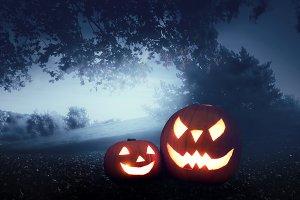 Halloween pumpkins on autumn forest background