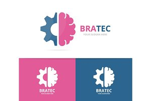 Vector brain and gear logo combination. Education and mechanic symbol or icon. Unique science and industrial logotype design template.