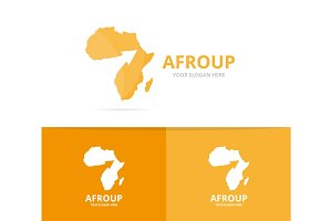 Vector africa and arrow up logo combination. Safari and growth symbol or icon. Unique geography, continent and upload logotype design template.