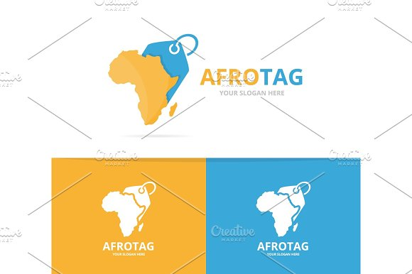 Vector africa and tag logo combination. Safari and shop symbol or ...