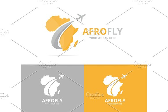 Vector africa and plane logo combination. Safari and travel symbol ...