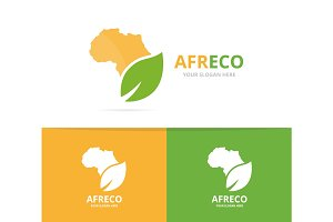 Vector africa and leaf logo combination. Safari and eco symbol or icon. Unique geography, continent and organic logotype design template.