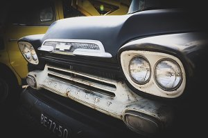 Old Chevy truck in black