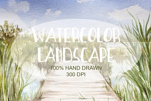 Watercolor Lake Landscape 004