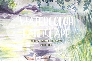 Watercolor Hand Drawn Landscape 005