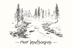 Landscapes with river and fir forest