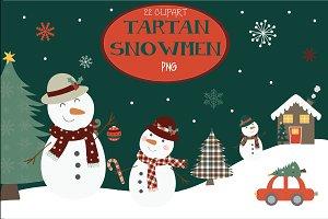 Tartan snowmen clipart