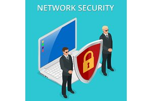 Network security computer security, personal access via finger, user authorization, login, protection technology Vector isometric illustration.