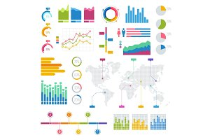 Vector Big set of infographics elements Graphics colourful for display white poster Round, triangular, rising, falling and with percentages diagrams showing business progress and regression