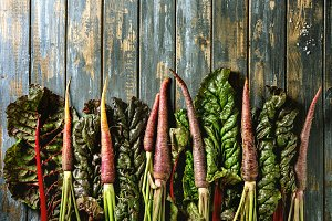 Purple carrot with chard