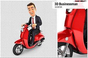 3D Businessman Riding a Scooter