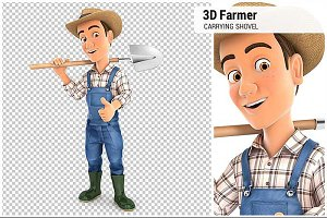 3D Farmer Carrying Shovel