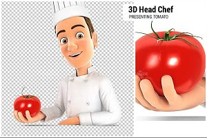 3D Head Chef Presenting Tomato