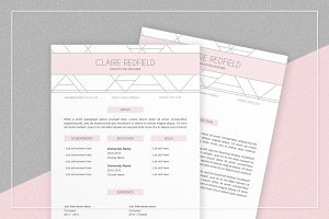 Pink Geometric Resume & Cover Letter