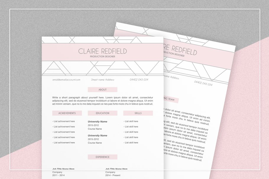Pink Geometric Resume & Cover Letter ~ Cover Letter ...