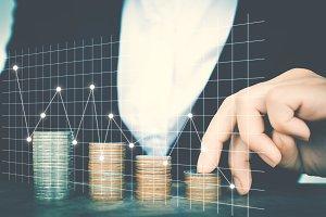 Business women saving for money