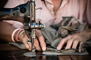 The vintage sewing machine