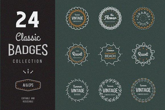 24 Vintage Circle Badges