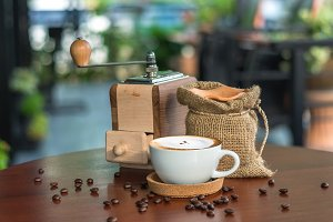 traditional coffee beans and grinder