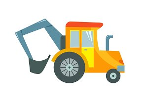Vector illustration of a toy tractor on a white background