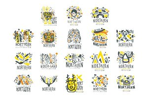 Nothern, nothern land set for label design. Nothern travel, sport, holiday, adventure vector Illustrations