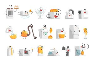 Smiling household appliances set for label design. Colorful detailed vector Illustrations