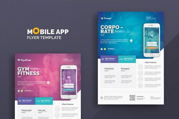mobile app flyer templates flyer templates creative market