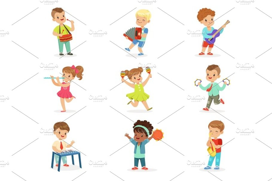 Cute children dancing and playing musical instruments, set for label design. Cartoon detailed colorful Illustrations