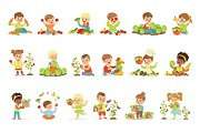 Little children having fun and playing with vegetables, set for label design. Cartoon detailed colorful Illustrations