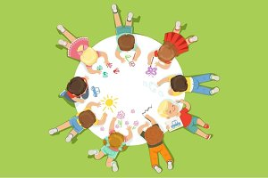 Lying little children painting on a big round paper. Cartoon detailed colorful Illustration