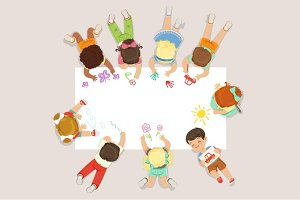Cute litttle kids lying and drawing on big paper. Cartoon detailed colorful Illustration