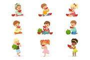Cute little kids eating watermelon. Healthy eating, snack for children. Cartoon detailed colorful Illustrations