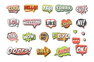 Trendy speech bubbles set for label design. Speech bubbles with short messages. Colorful cartoon detailed Illustrations