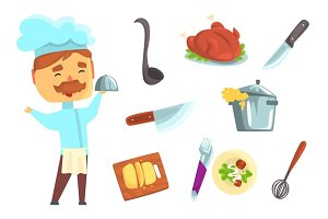 Smiling chef. Kitchen appliances and different dishes set for label design. Colorful cartoon detailed Illustrations