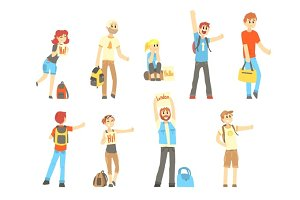 Hitchhiker standing with backpack and bag, set for label design. Cartoon detailed colorful Illustrations