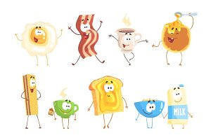 Funny fast food, set for label design. Breakfast products standing and smiling. Cartoon detailed Illustrations