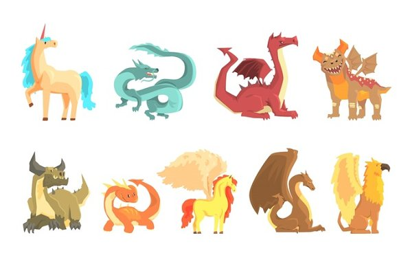 Mythological animals, set for label…