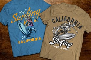 Surfing t-shirts and posters