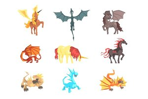Mythical and fantastic creatures, set for label design. Cartoon detailed Illustrations