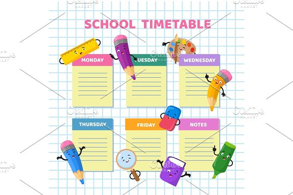 School timetable with funny cartoon stationery characters – Timetable Template School