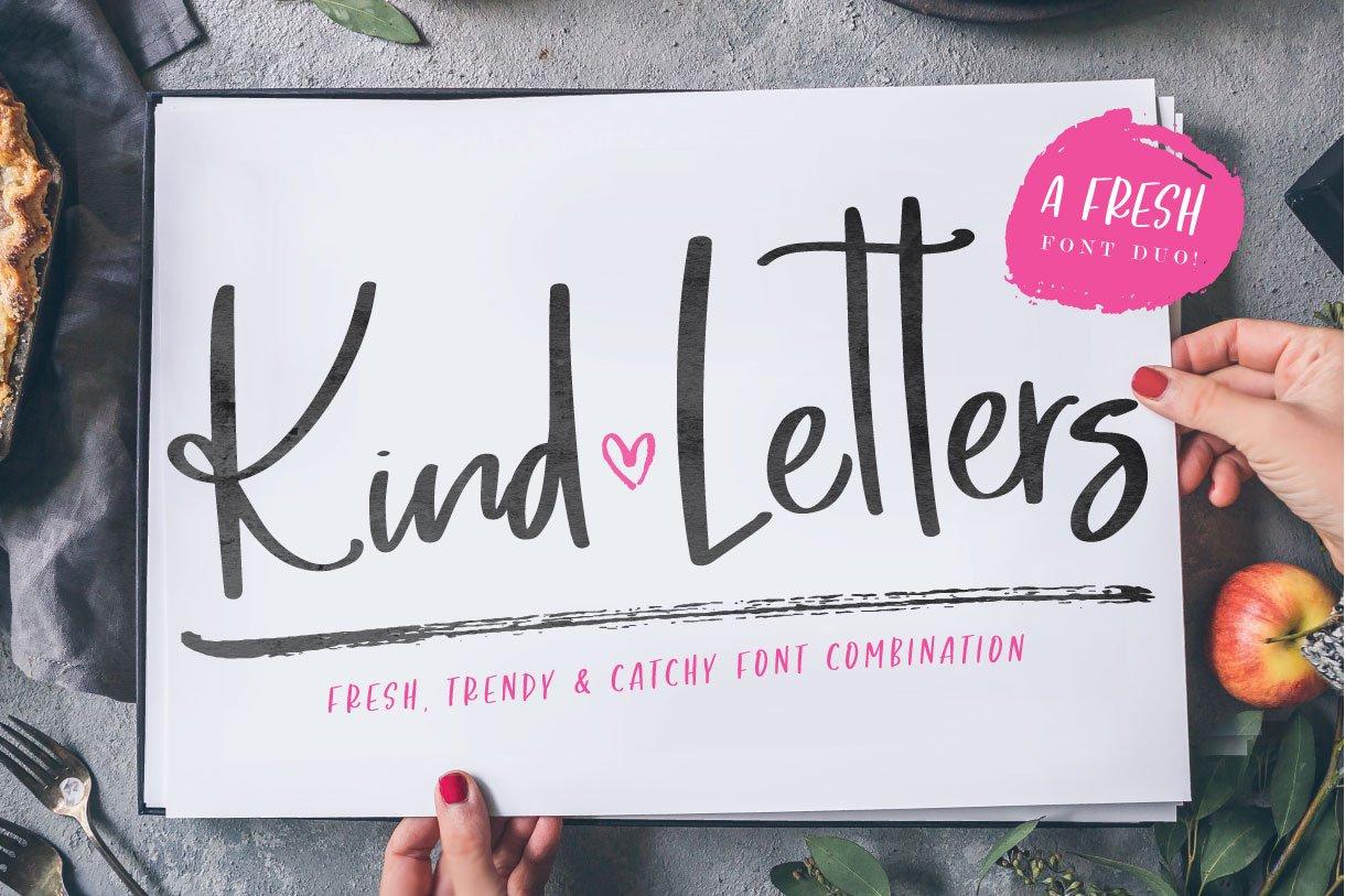 Kind Letters Font Duo Script Fonts Creative Market