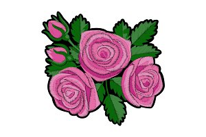 Pink Rose Embroidery Patch
