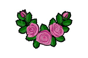 Pink Rose Corner Embroidery Patch